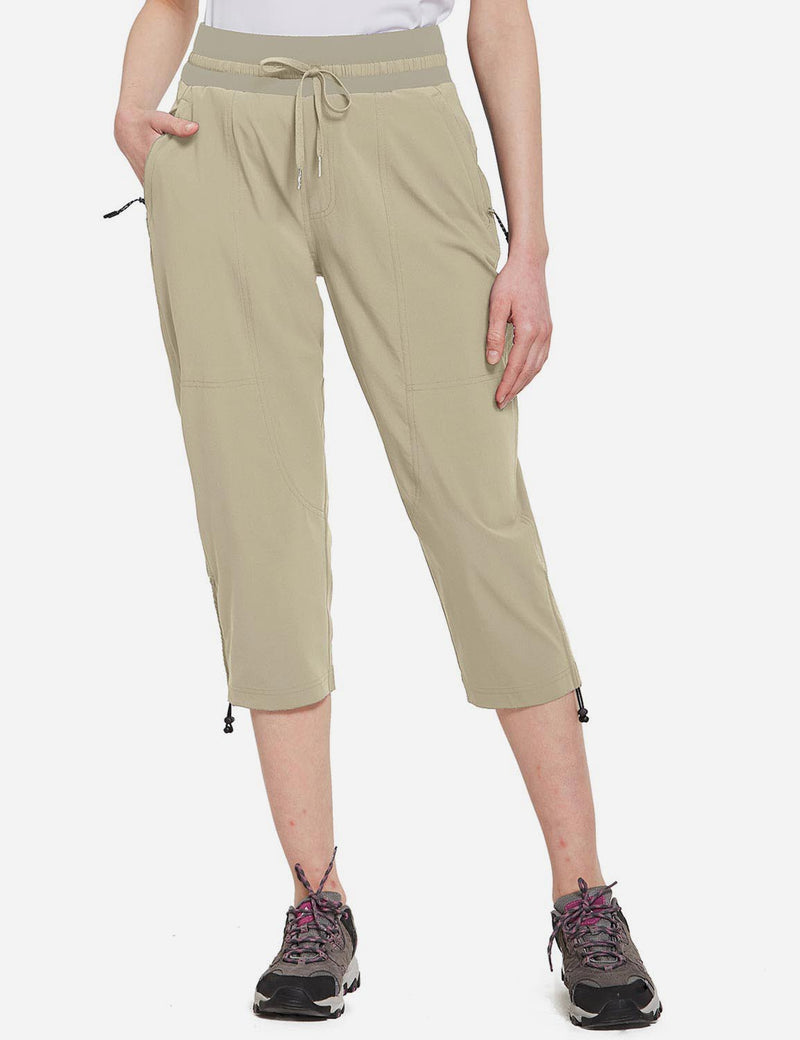 Baleaf Womens UPF50+ Mid-Rise Lightweight Adjustable Cuffs Outdoor Capris Khaki Front