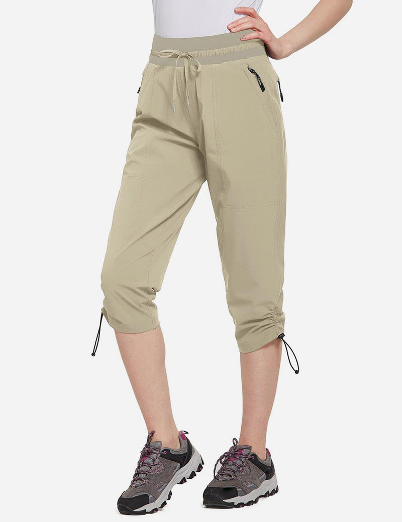 Baleaf Womens UPF50+ Mid-Rise Lightweight Adjustable Cuffs Outdoor Capris Khaki Side