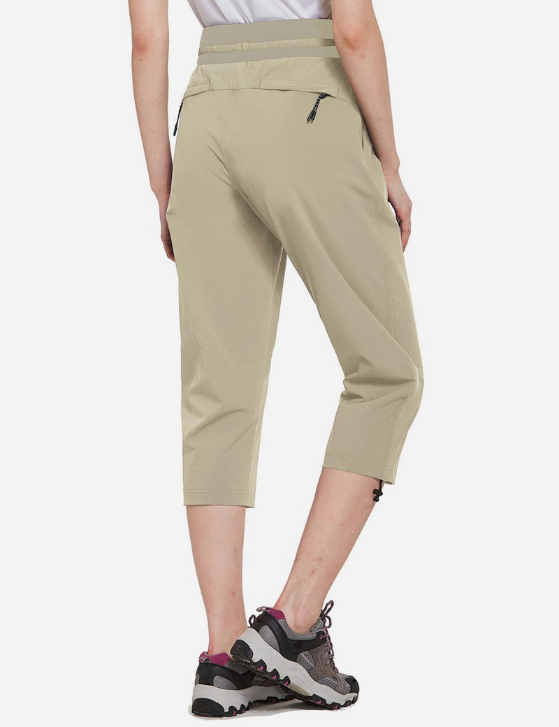 Baleaf Womens UPF50+ Mid-Rise Lightweight Adjustable Cuffs Outdoor Capris Khaki Back