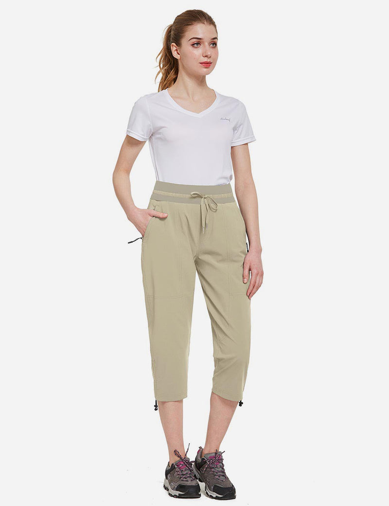 Baleaf Womens UPF50+ Mid-Rise Lightweight Adjustable Cuffs Outdoor Capris Khaki Full