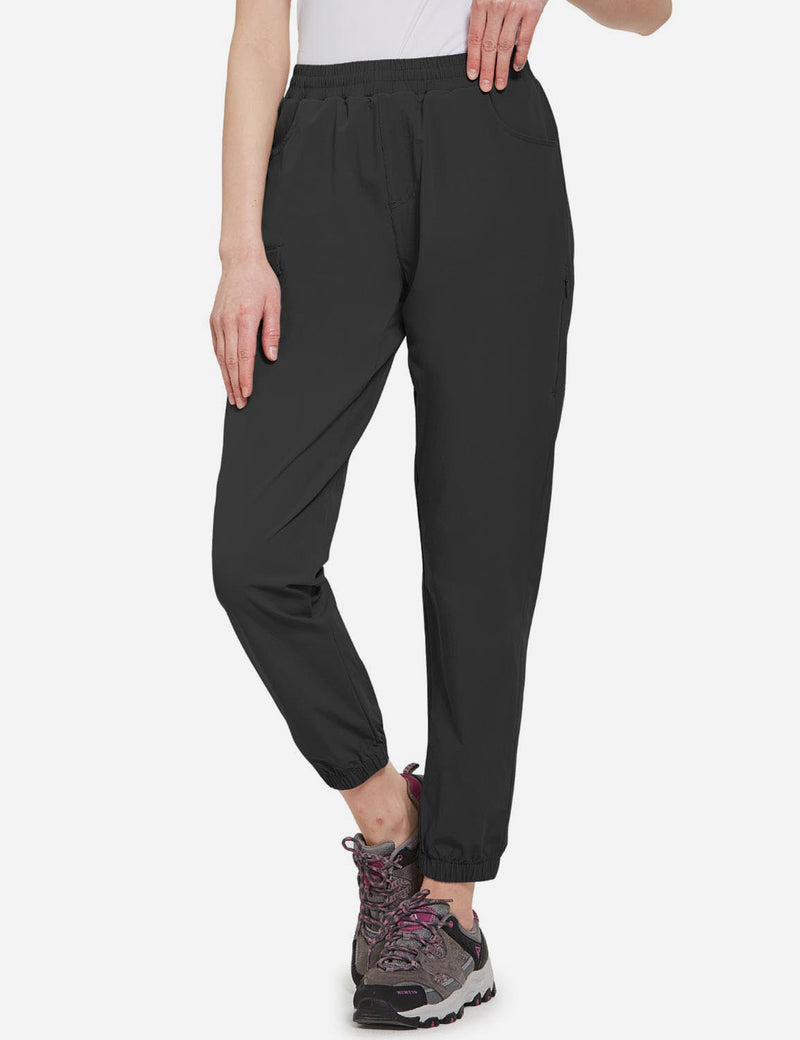 Baleaf Women's UPF50+ Multiple Zippered Pockets Outdoor Hiking Joggers Black Front
