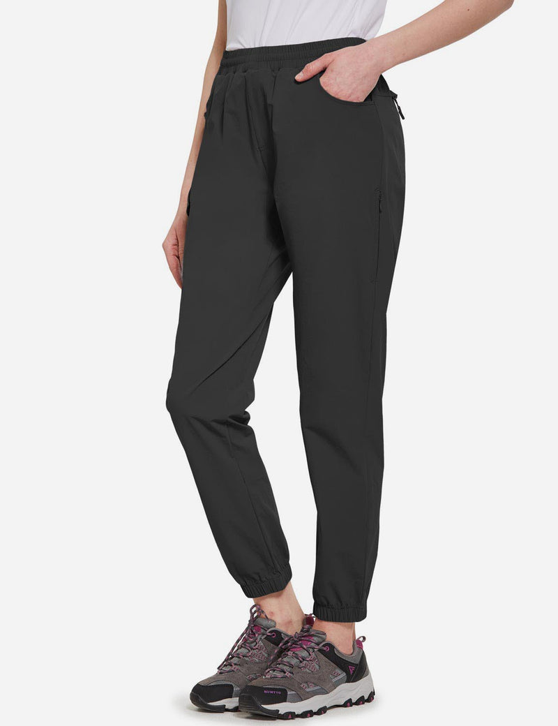 Baleaf Women's UPF50+ Multiple Zippered Pockets Outdoor Hiking Joggers Black Side