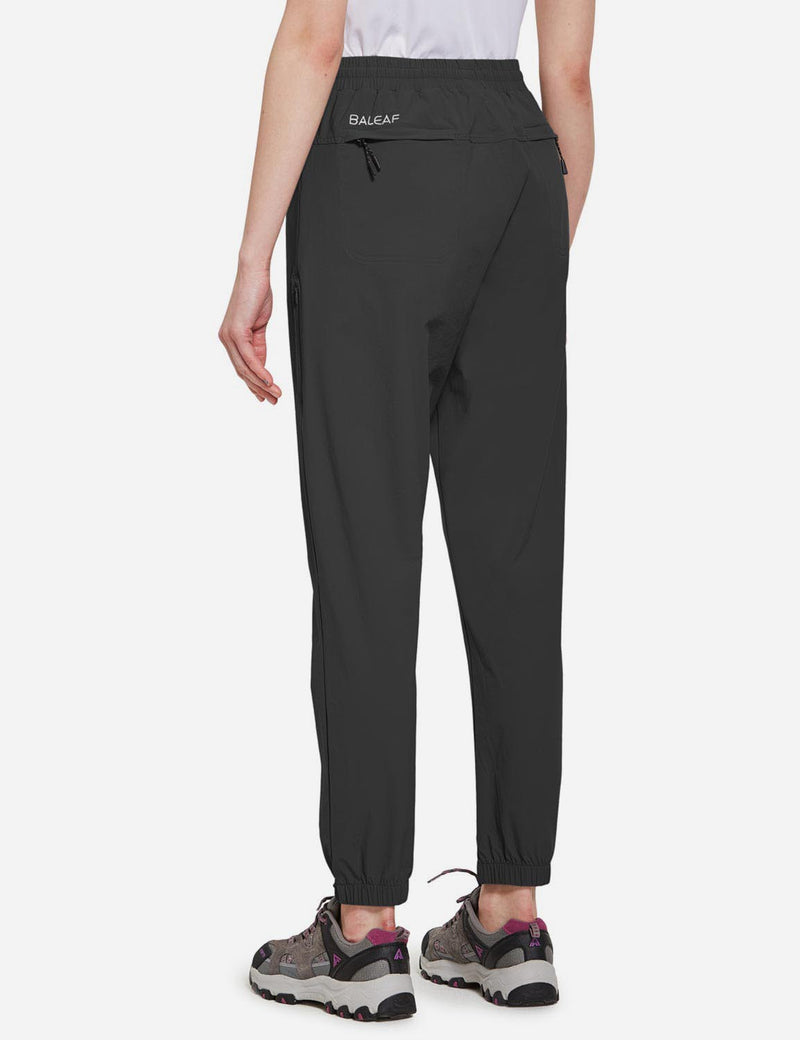 Baleaf Women's UPF50+ Multiple Zippered Pockets Outdoor Hiking Joggers Black Back