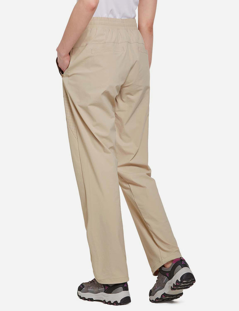 Baleaf Womens UPF50+ Lightweight Mesh Paneled Convertibel Outdoor Pants Khaki back