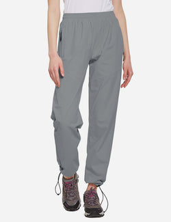 Baleaf Womens UPF50+ Lightweight Mesh Paneled Convertibel Outdoor Pants Gray front