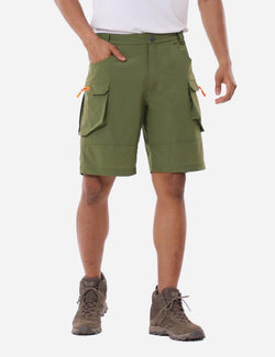Baleaf Mens UPF 50+ Water Resistant Multipocketed Cargo Shorts Army Green Front