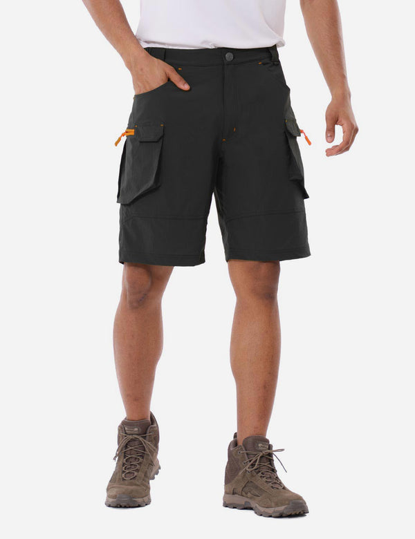 Baleaf Mens UPF 50+ Water Resistant Multipocketed Cargo Shorts Black Front