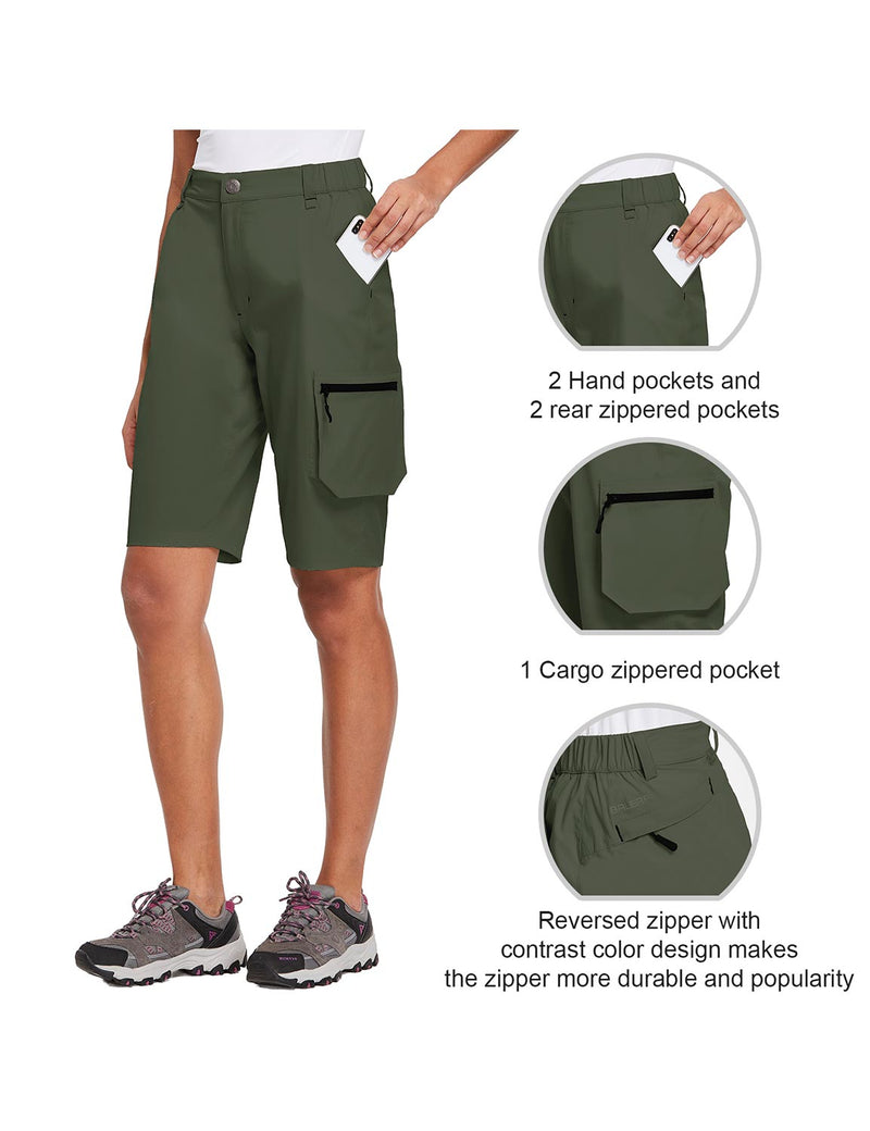 Baleaf Womens UPF 50+ Water Repellent Multi-Pocketed Outdoor Shorts Army Green Detials