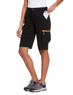 Baleaf Womens UPF 50+ Water Repellent Multi-Pocketed Outdoor Shorts Black Side