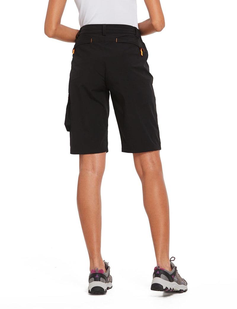 Baleaf Womens UPF 50+ Water Repellent Multi-Pocketed Outdoor Shorts Black Back
