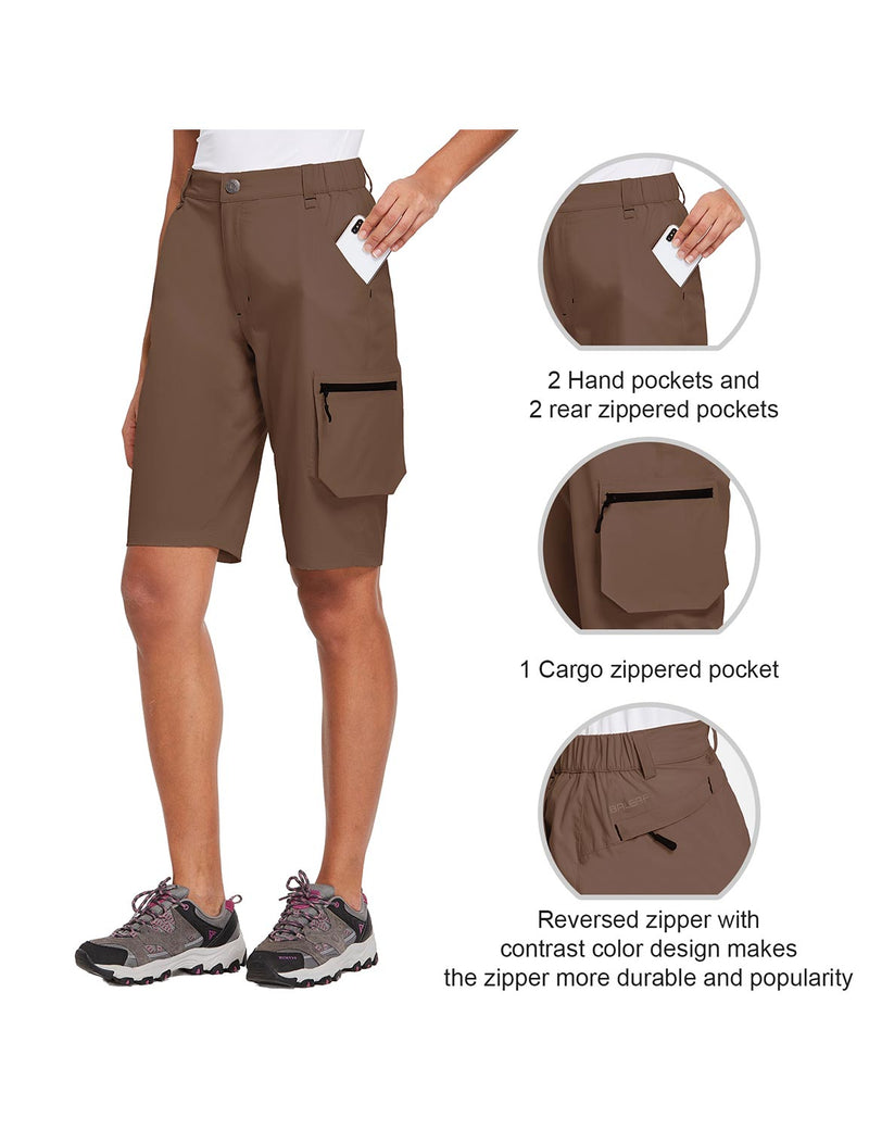 Baleaf Womens UPF 50+ Water Repellent Multi-Pocketed Outdoor Shorts Brown Details