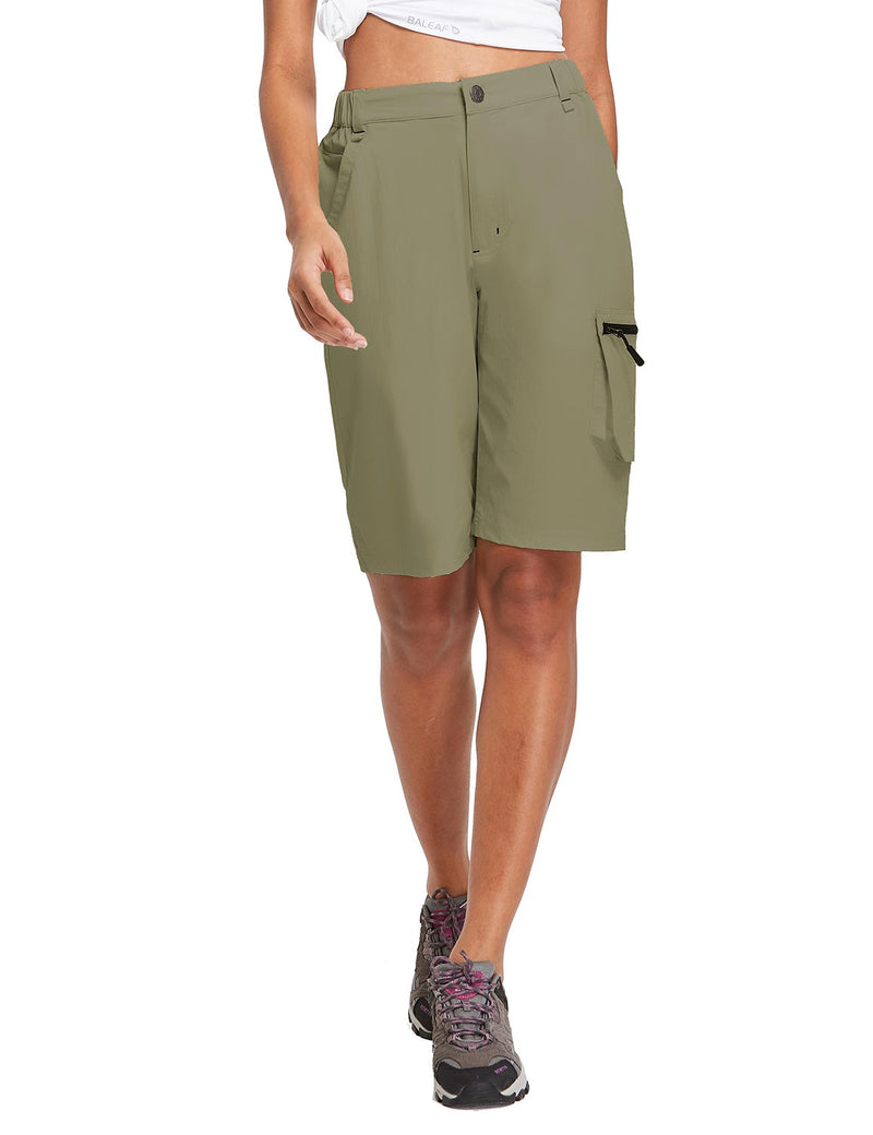 Baleaf Womens UPF 50+ Water Repellent Multi-Pocketed Outdoor Shorts Olive Green Front