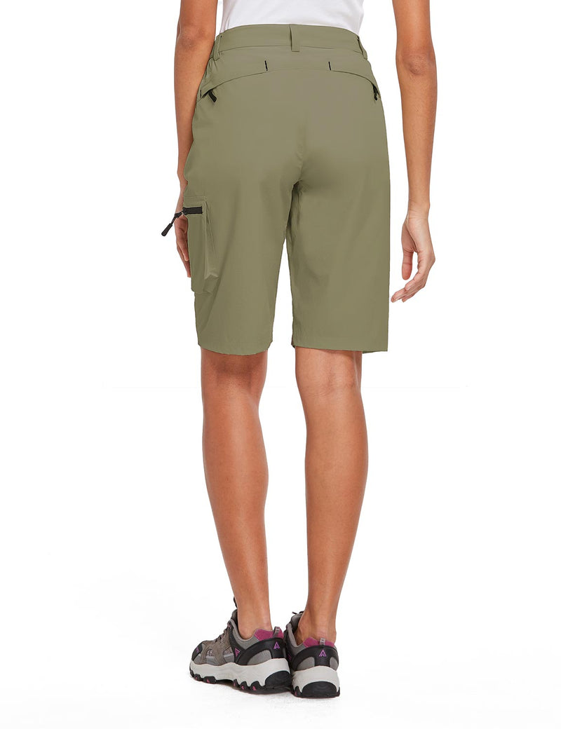 Baleaf Womens UPF 50+ Water Repellent Multi-Pocketed Outdoor Shorts Olive Green Back