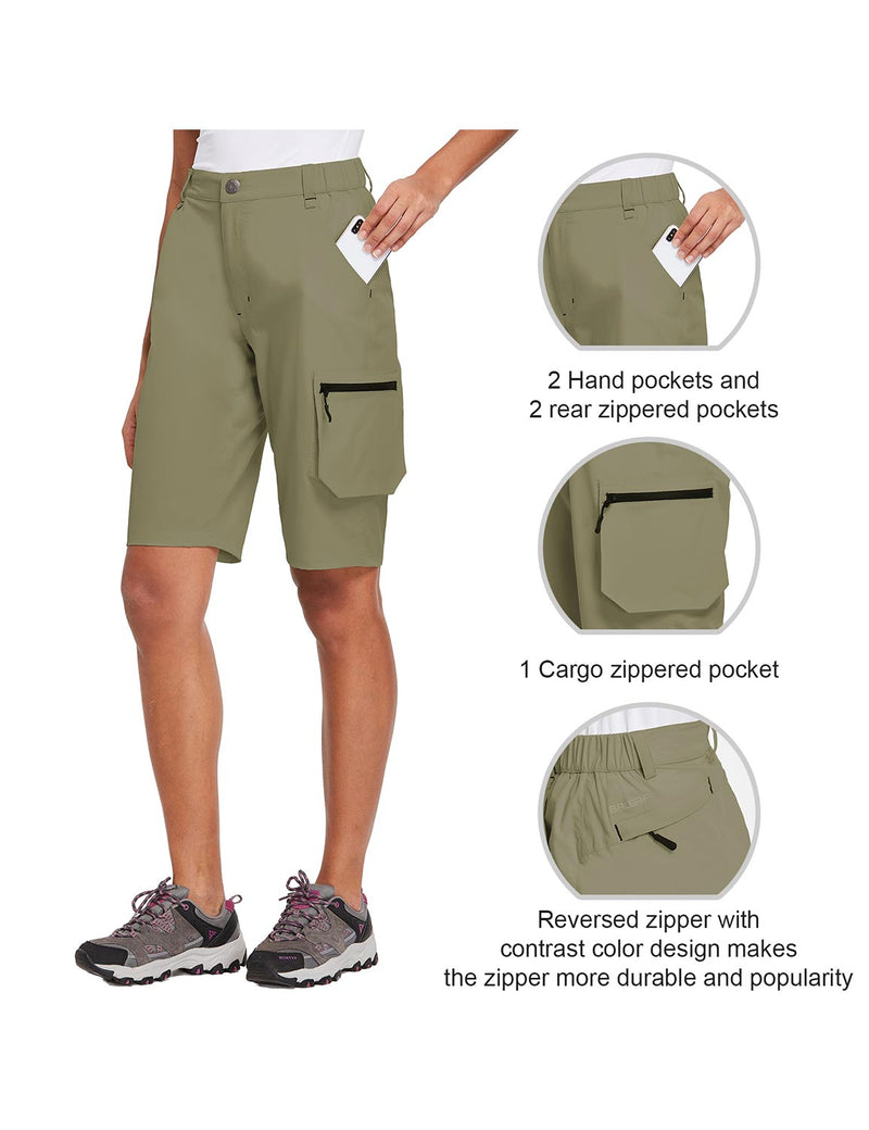 Baleaf Womens UPF 50+ Water Repellent Multi-Pocketed Outdoor Shorts Olive Green Details