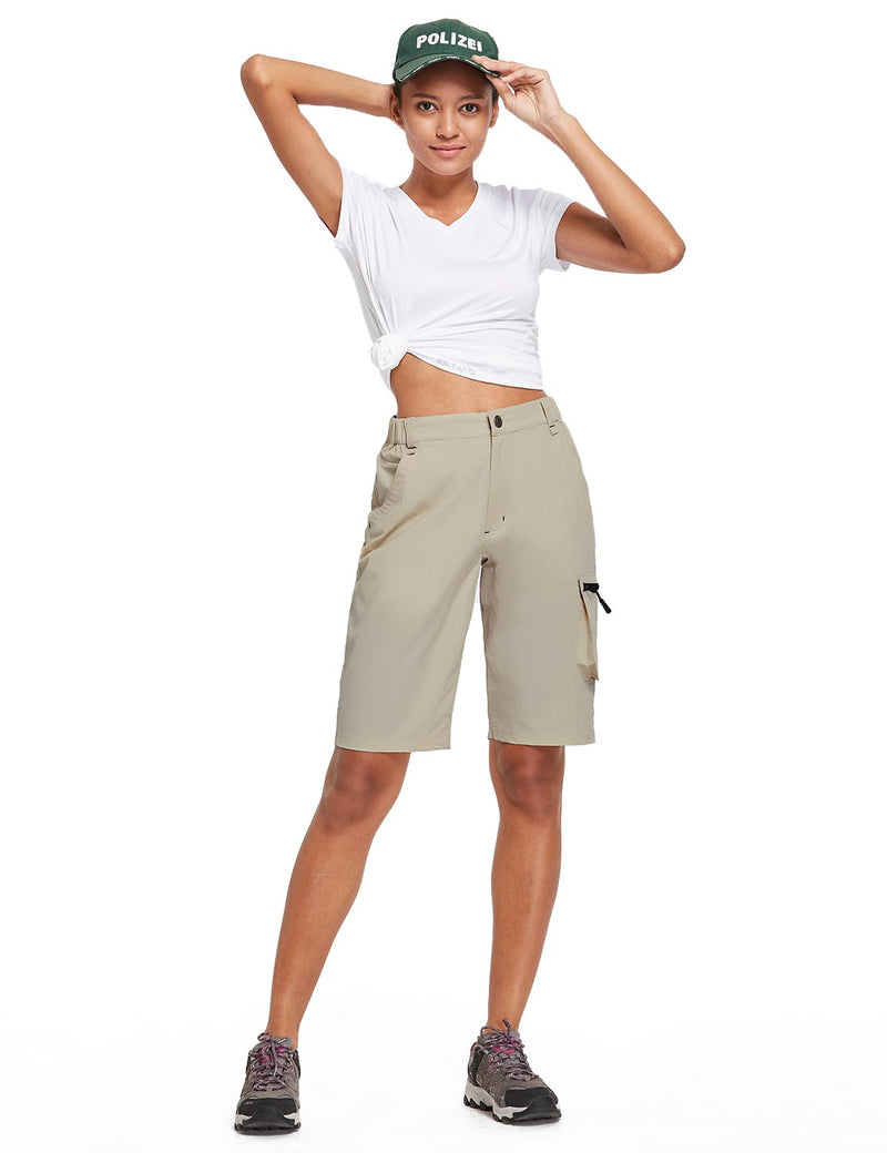 Baleaf Womens UPF 50+ Water Repellent Multi-Pocketed Outdoor Shorts Dark Khaki Full
