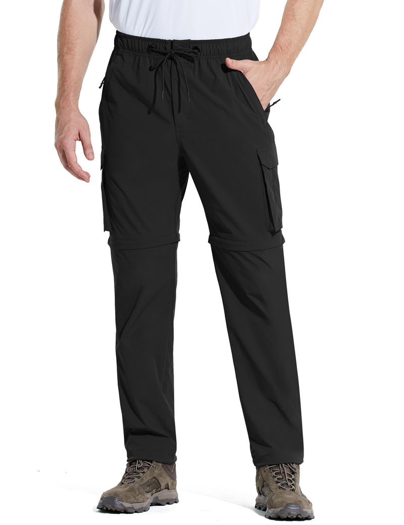 Baleaf Men UPF 50+ DWR Convertible Multi-Pocketed Outdoor & Hiking Pants Black Front