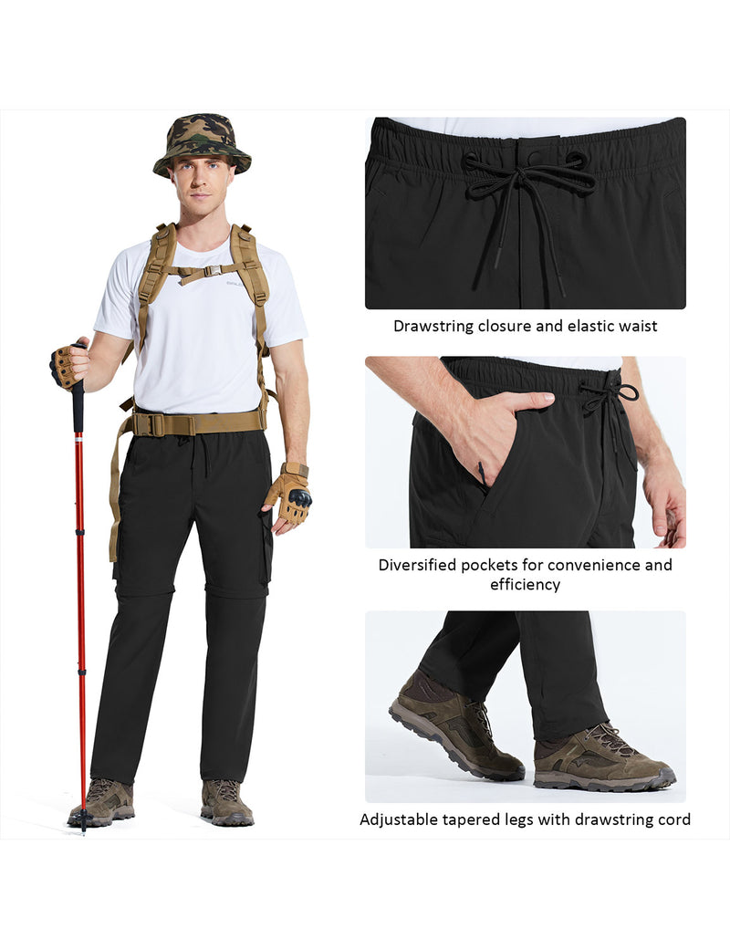 Baleaf Men UPF 50+ DWR Convertible Multi-Pocketed Outdoor & Hiking Pants Black Details