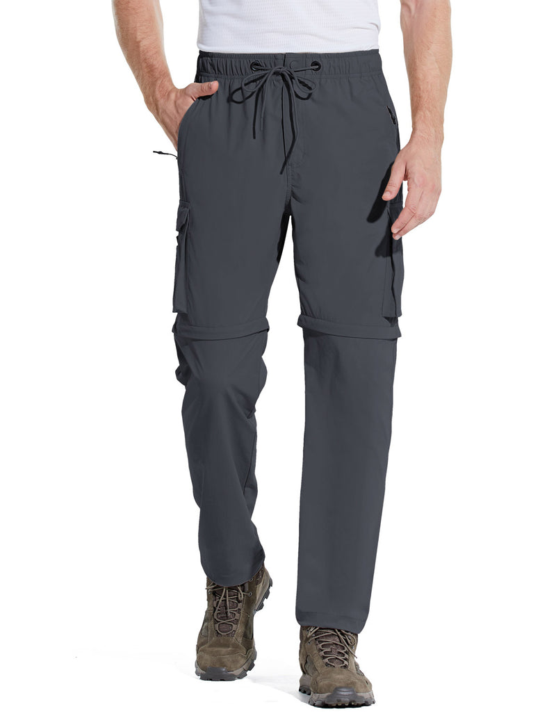 Baleaf Men UPF 50+ DWR Convertible Multi-Pocketed Outdoor & Hiking Pants Dark Gray Front