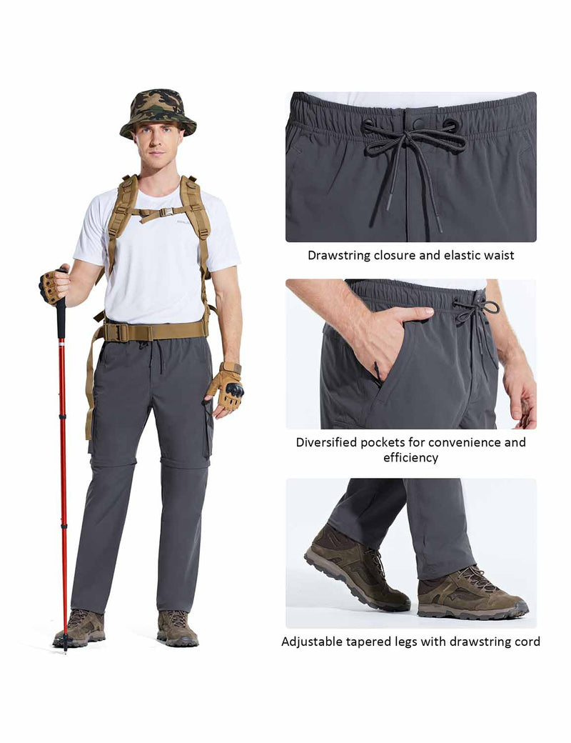 Baleaf Men UPF 50+ DWR Convertible Multi-Pocketed Outdoor & Hiking Pants Dark Gray Details