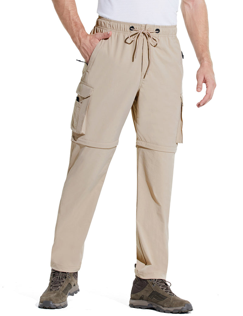 Baleaf Men UPF 50+ DWR Convertible Multi-Pocketed Outdoor & Hiking Pants Khaki Side