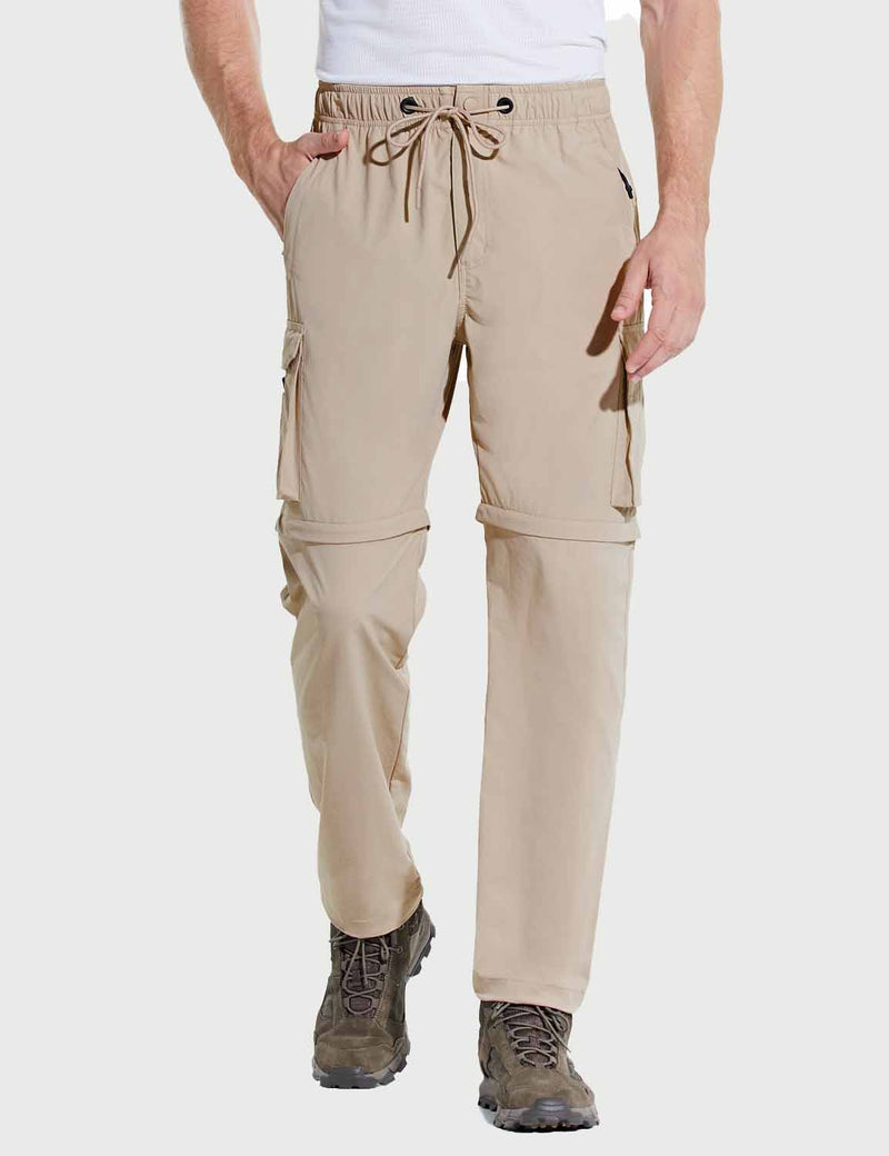 Baleaf Men UPF 50+ DWR Convertible Multi-Pocketed Outdoor & Hiking Pants Khaki Front