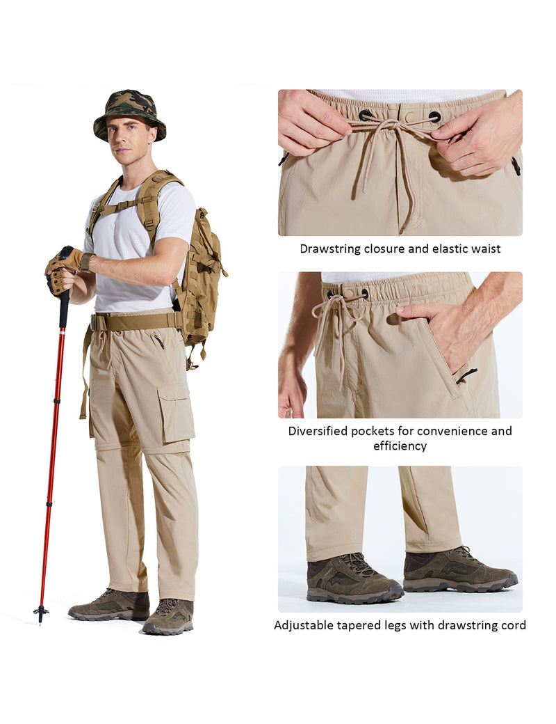 Baleaf Men UPF 50+ DWR Convertible Multi-Pocketed Outdoor & Hiking Pants Khaki Details