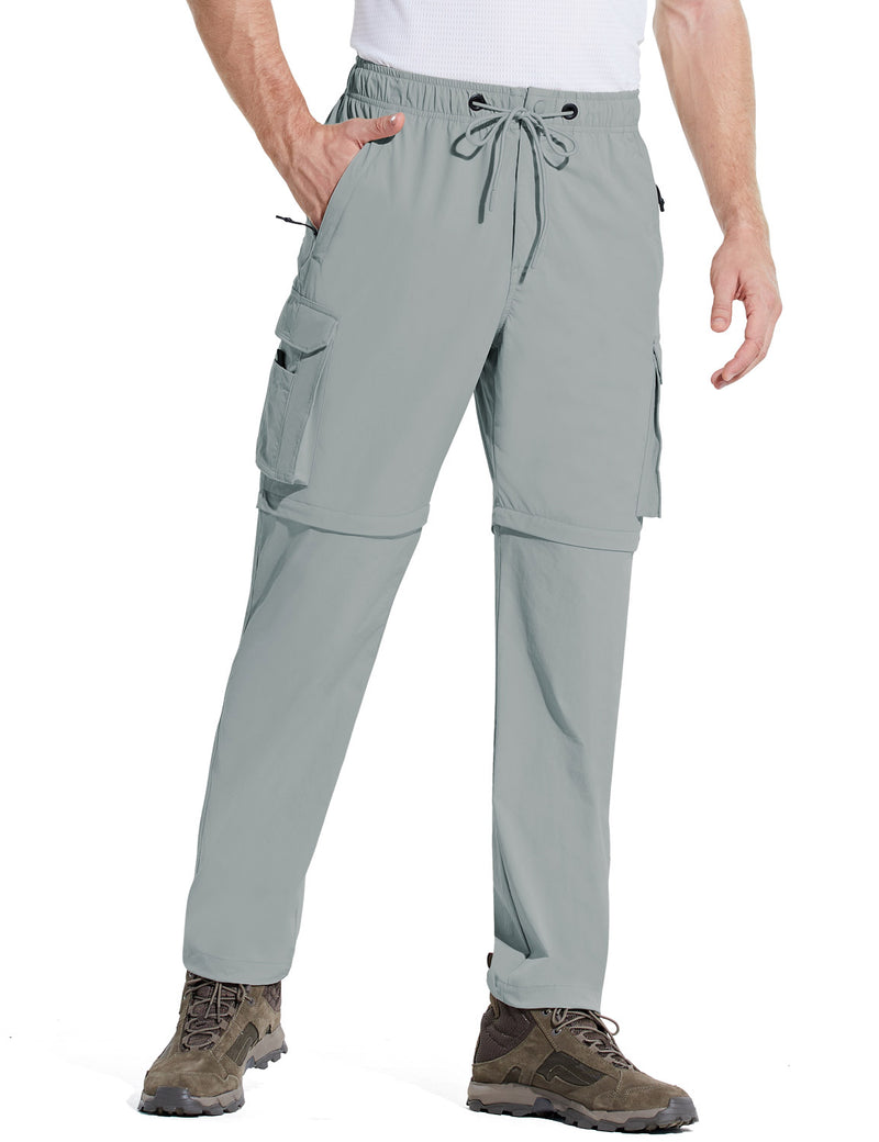 Baleaf Men UPF 50+ DWR Convertible Multi-Pocketed Outdoor & Hiking Pants Light Gray Side