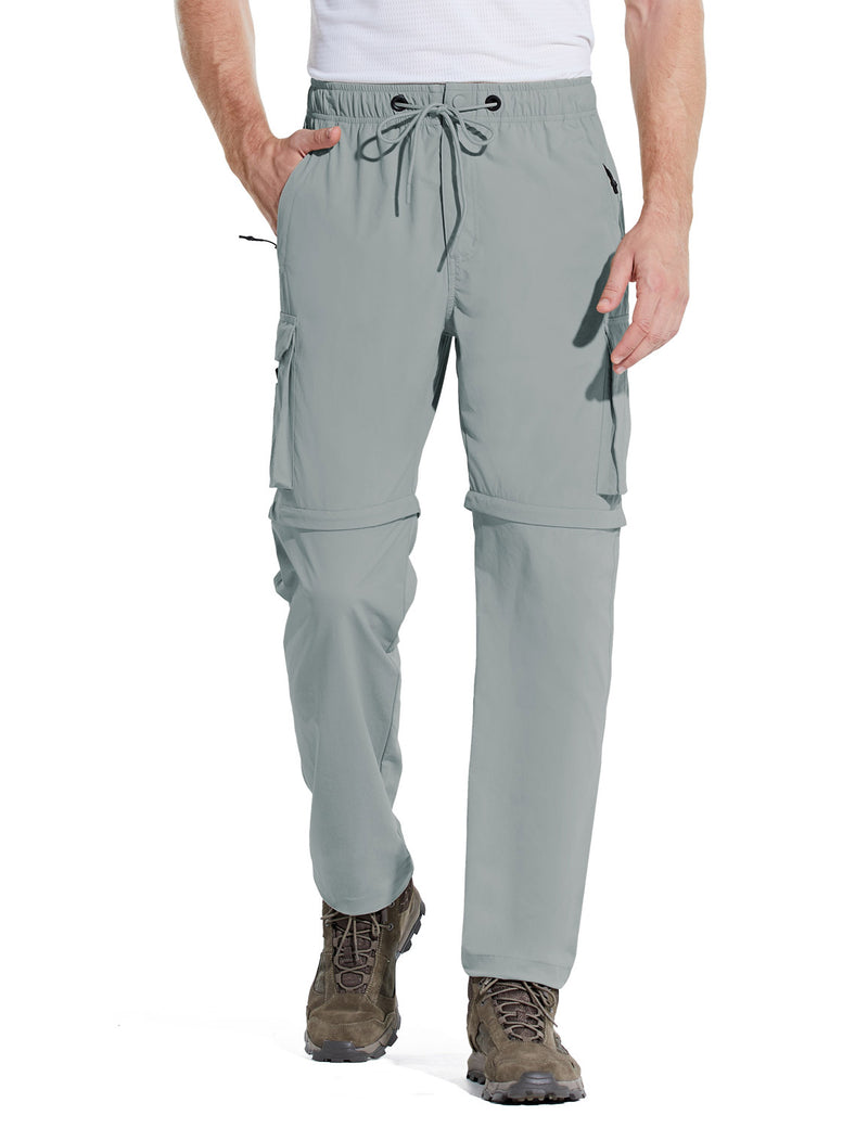 Baleaf Men UPF 50+ DWR Convertible Multi-Pocketed Outdoor & Hiking Pants Light Gray Front