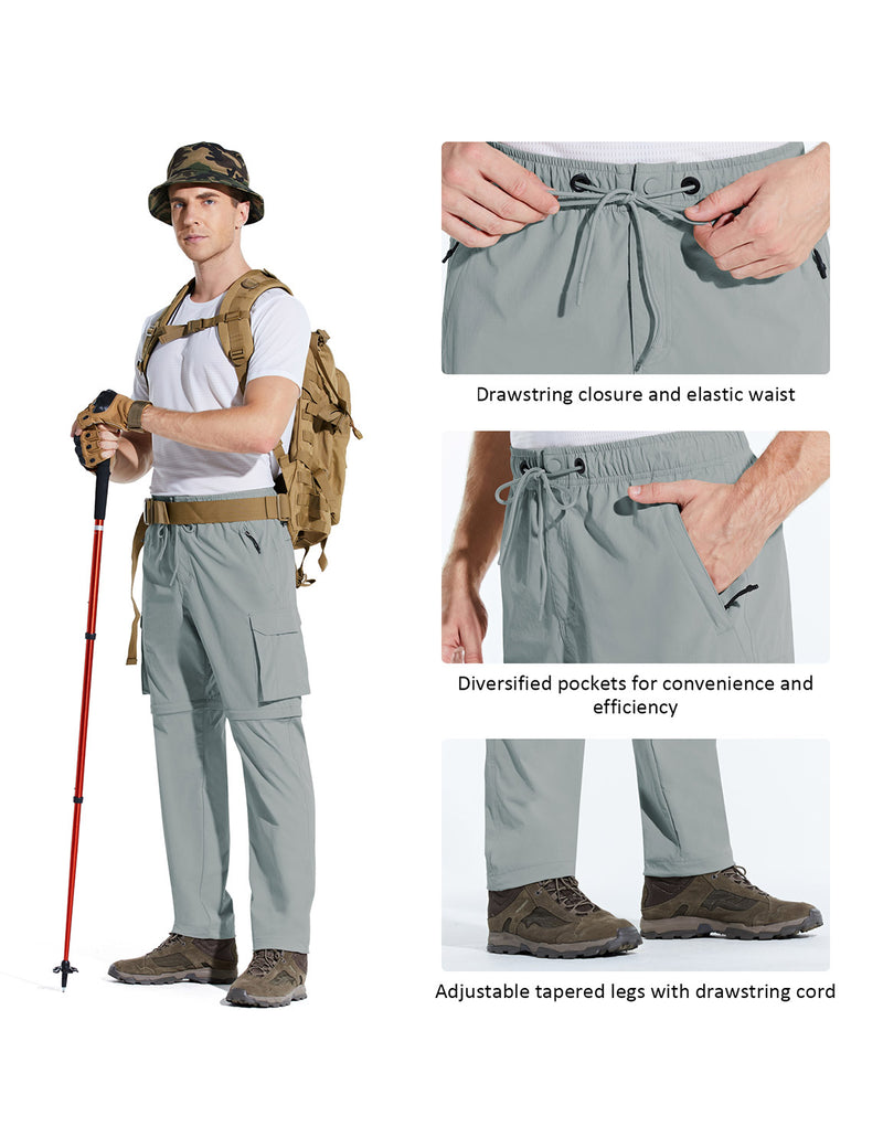 Baleaf Men UPF 50+ DWR Convertible Multi-Pocketed Outdoor & Hiking Pants Light Gray Details