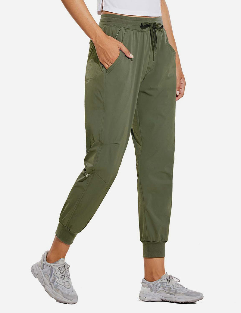 Baleaf Womens UPF 50+ Waterproof Tapered Ankle Length Pocketed Outdoor Pants Army Green Side