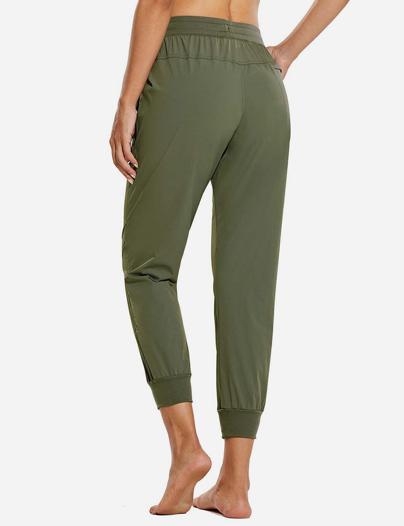 Baleaf Womens UPF 50+ Waterproof Tapered Ankle Length Pocketed Outdoor Pants Army Green Back