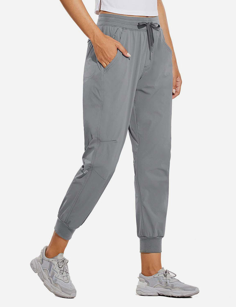 Baleaf Womens UPF 50+ Waterproof Tapered Ankle Length Pocketed Outdoor Pants Gray Front