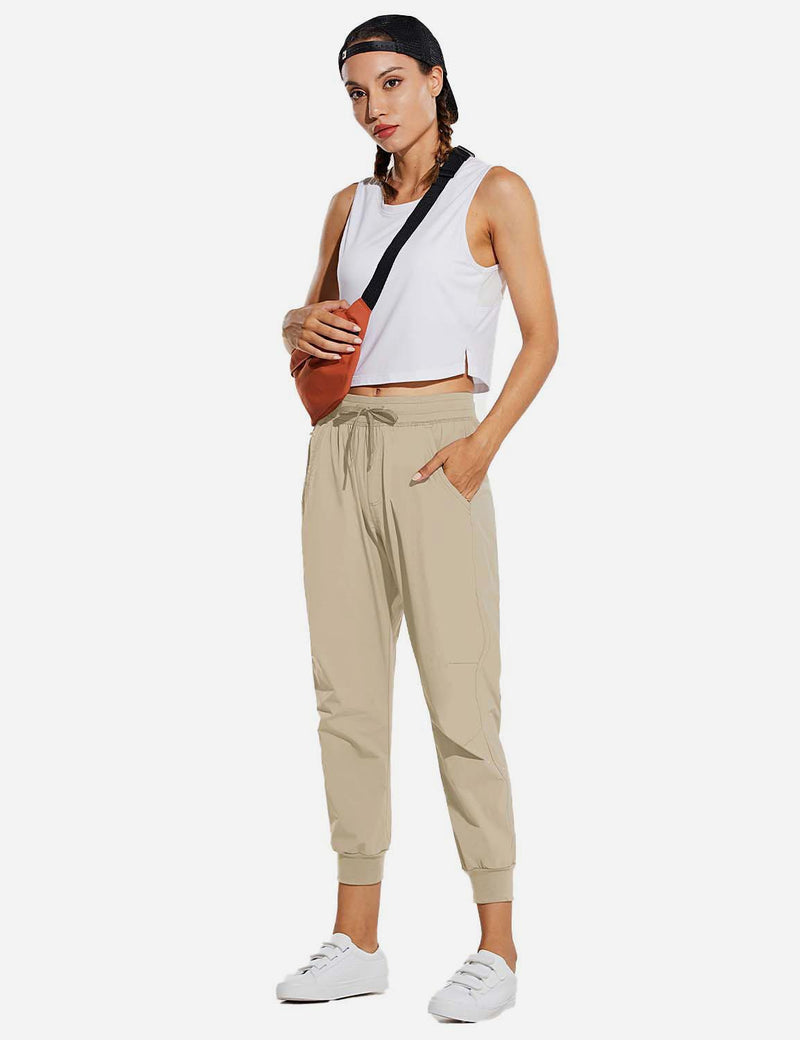 Baleaf Womens UPF 50+ Waterproof Tapered Ankle Length Pocketed Outdoor Pants Khaki Full
