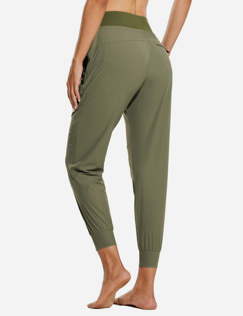 "Baleaf Womens 26"" UPF 50+ Waterproof Taper Legged Pocketed Outdoor Pants Green Back"