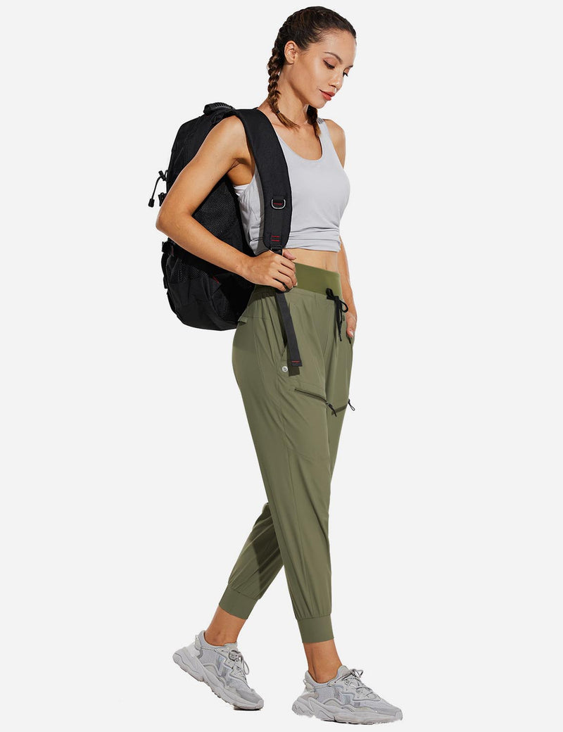 "Baleaf Womens 26"" UPF 50+ Waterproof Taper Legged Pocketed Outdoor Pants Green Full"