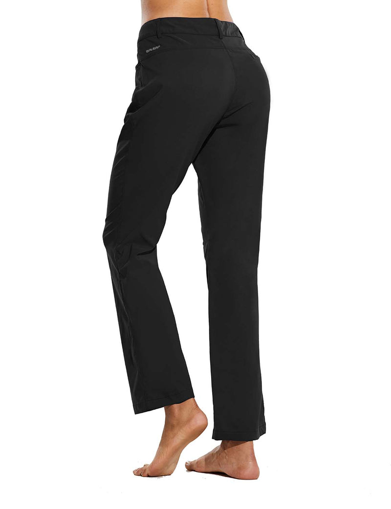 Baleaf Womens UPF 50+ Water Resistant Bootcut Pocketed Outdoor Pants Black Back