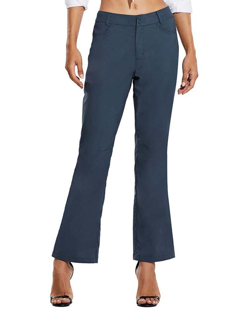 Baleaf Womens UPF 50+ Water Resistant Bootcut Pocketed Outdoor Pants Blue Front