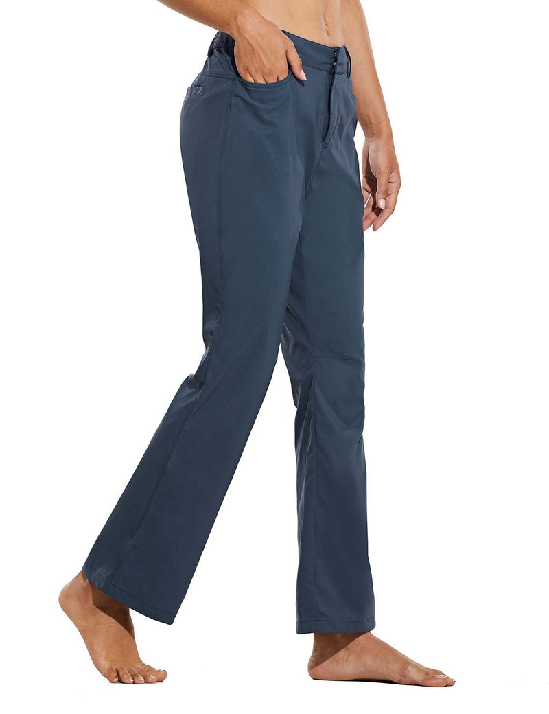 Baleaf Womens UPF 50+ Water Resistant Bootcut Pocketed Outdoor Pants Blue Side