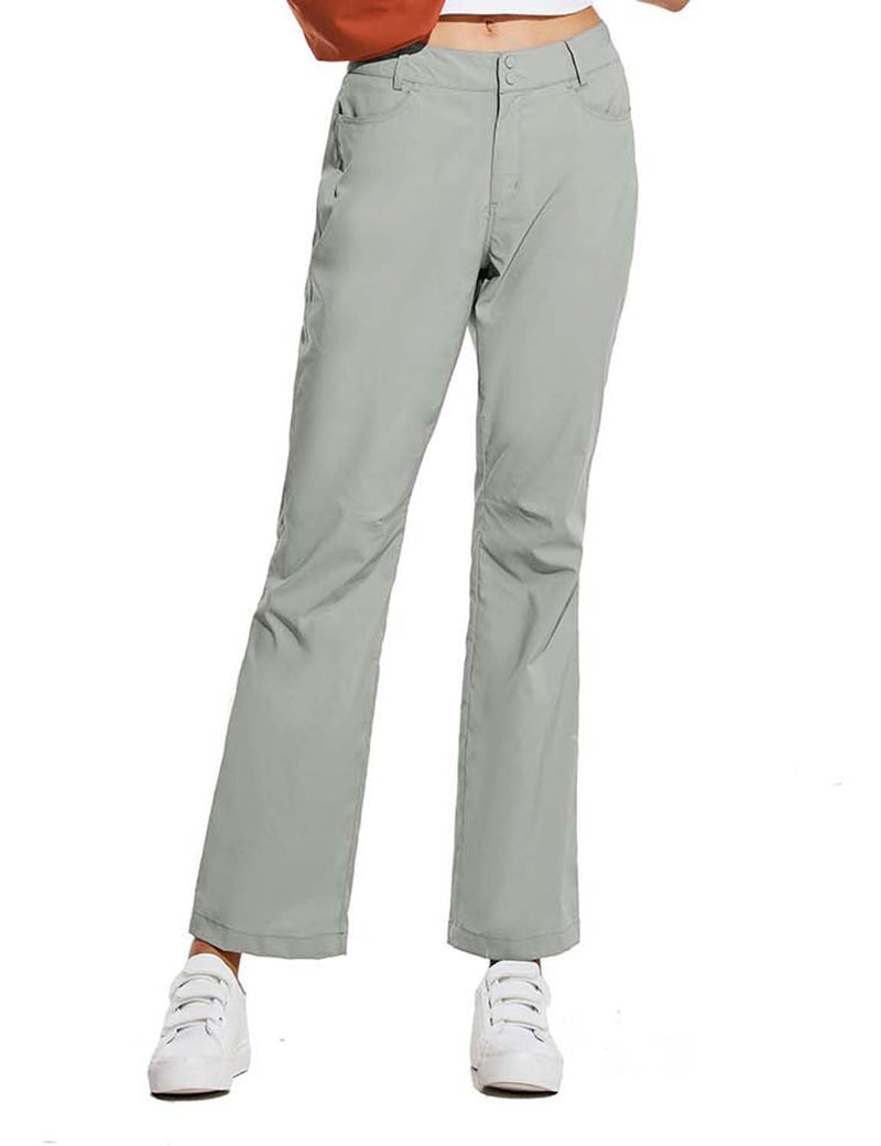 Baleaf Womens UPF 50+ Water Resistant Bootcut Pocketed Outdoor Pants Gray Front