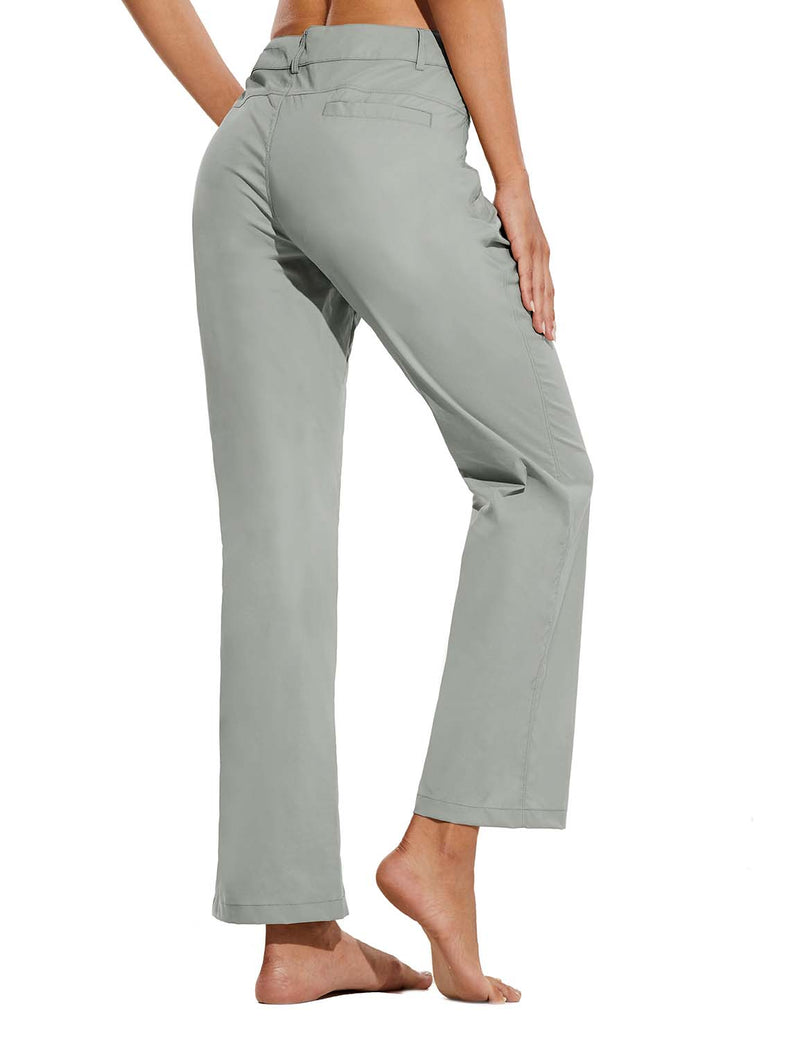 Baleaf Womens UPF 50+ Water Resistant Bootcut Pocketed Outdoor Pants Gray Back