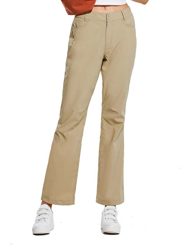 Baleaf Womens UPF 50+ Water Resistant Bootcut Pocketed Outdoor Pants Khaki Front