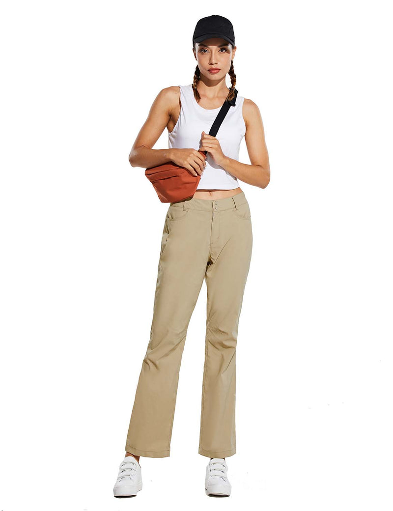 Baleaf Womens UPF 50+ Water Resistant Bootcut Pocketed Outdoor Pants Khaki Full