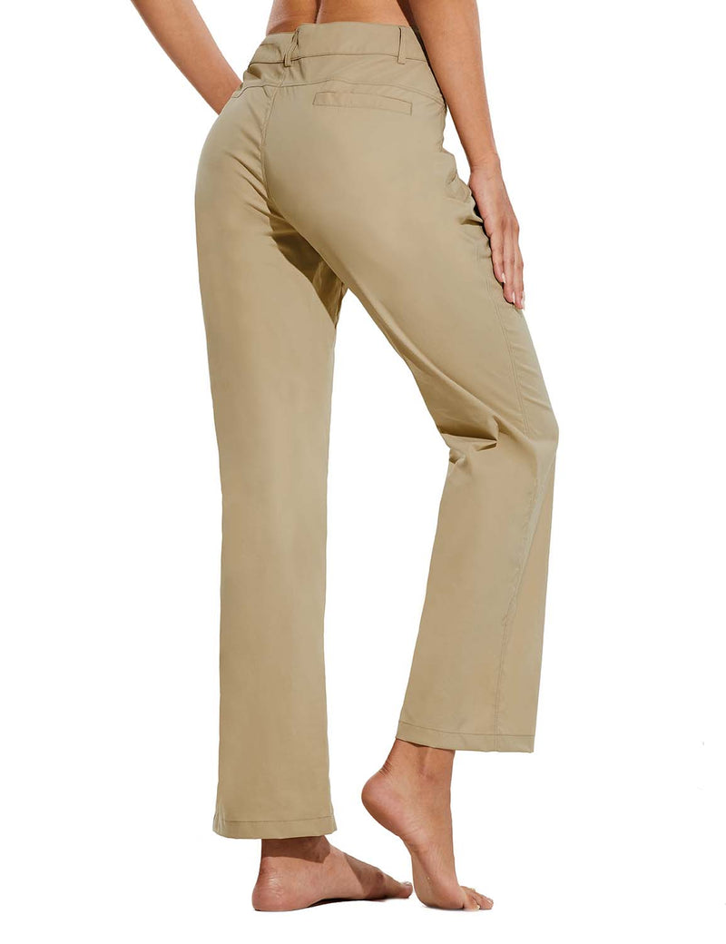Baleaf Womens UPF 50+ Water Resistant Bootcut Pocketed Outdoor Pants Khaki Back