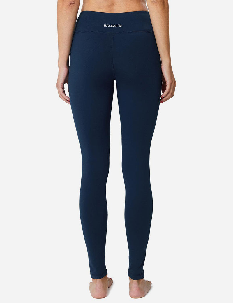 Baleaf Sports High-Rise Fleece Lined Leggings Dark Blue back