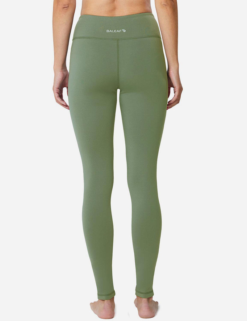 Baleaf Sports High-Rise Fleece Lined Leggings olive green back