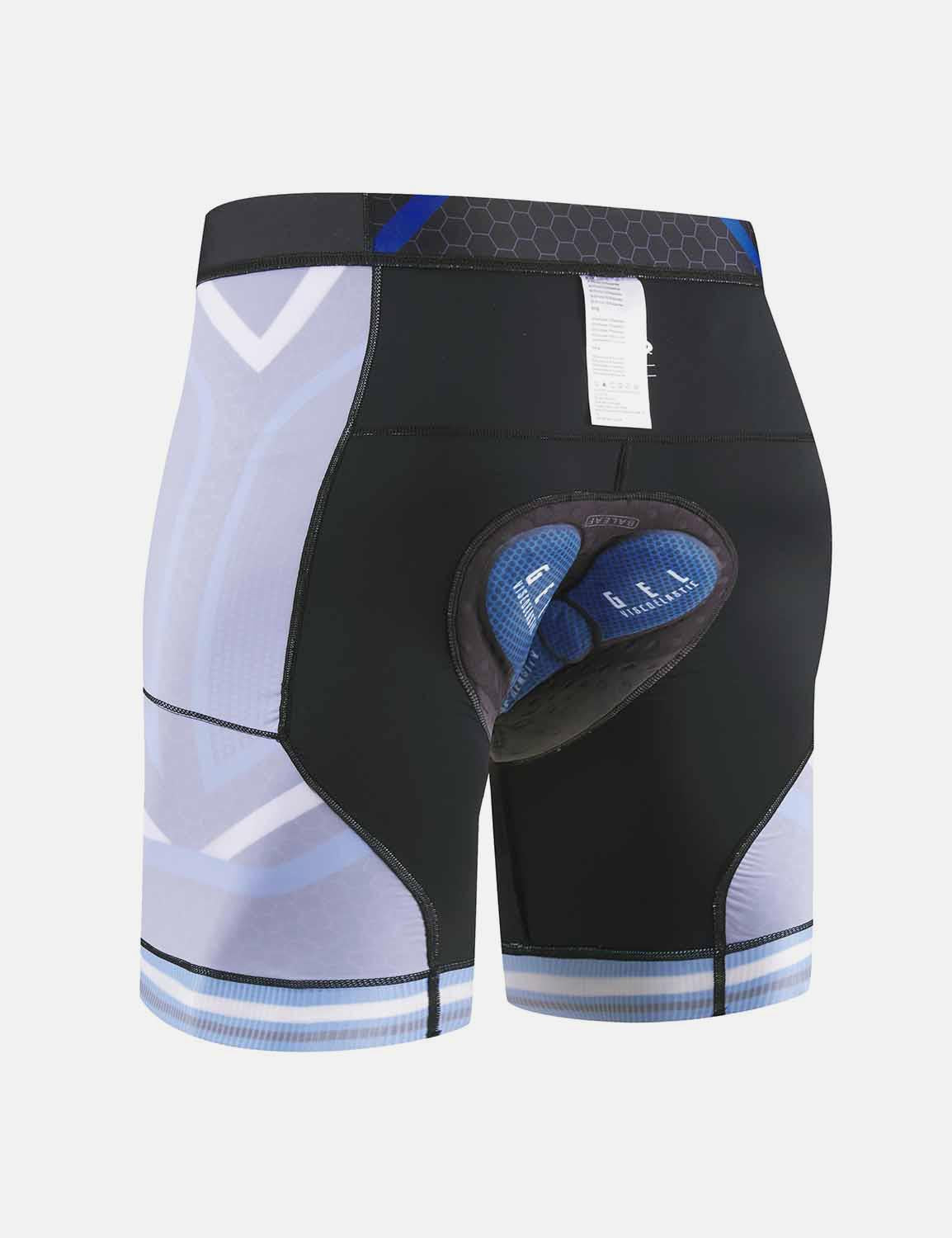 Baleaf Mens 4D Chamois Padded Digital Printed Cycling Shorts w Seamless Pockets Blue Back