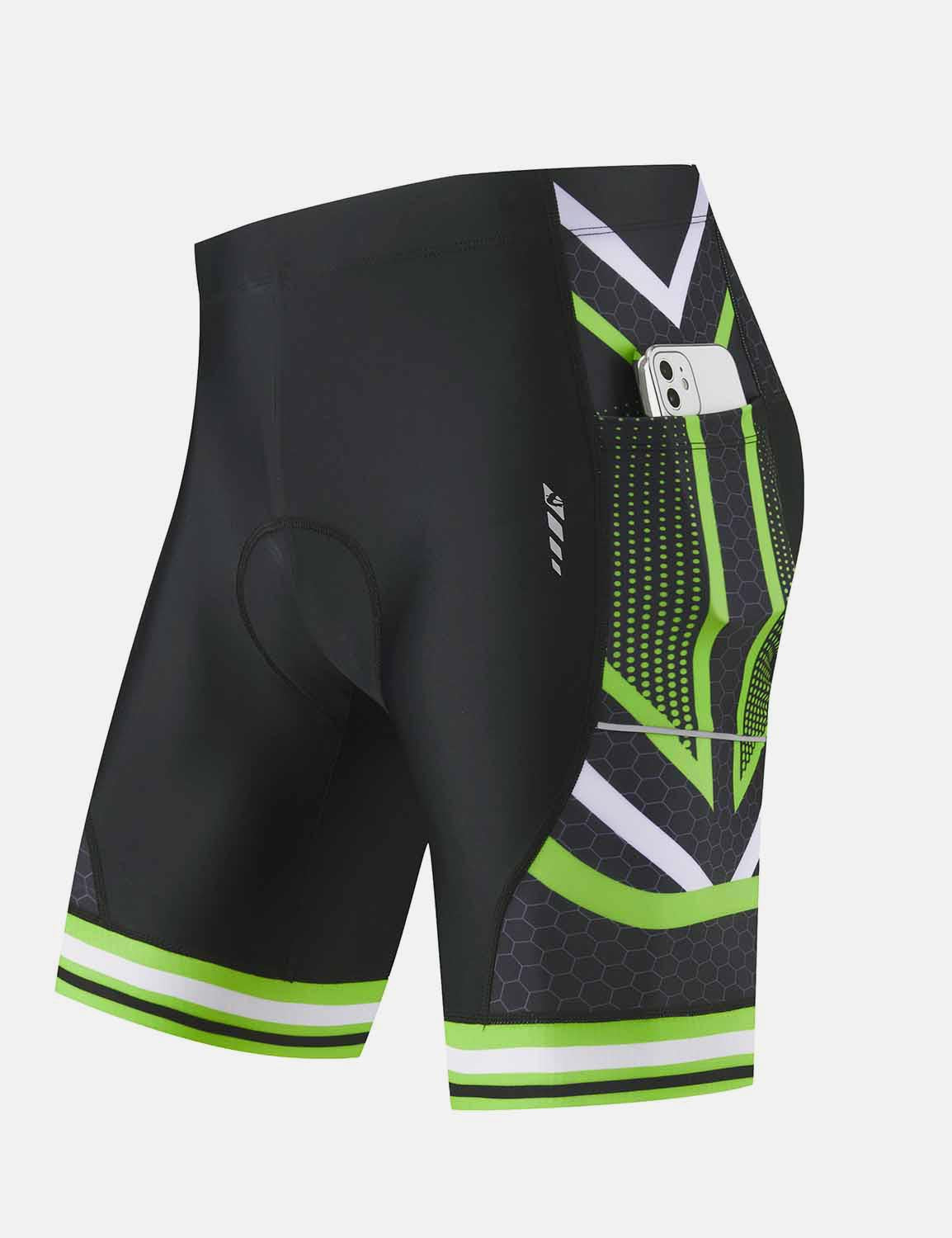 Baleaf Mens 4D Chamois Padded Digital Printed Cycling Shorts w Seamless Pockets Green side