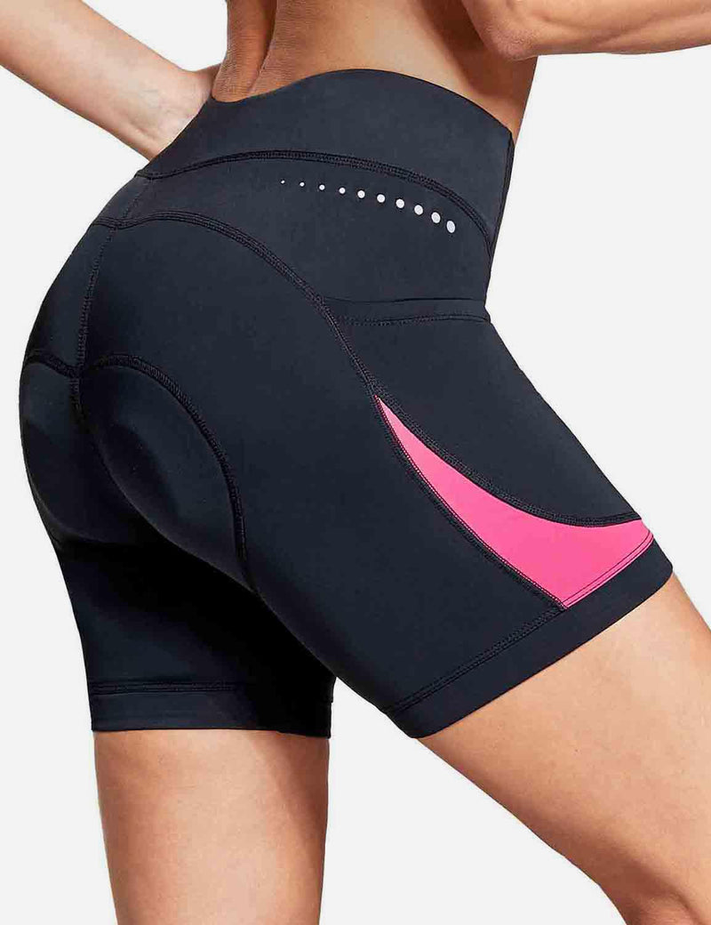 "Baleaf Womens UPF 50+ 5"" Bike Shorts 4D Padded Pockets Cycling Underwear Pink back"
