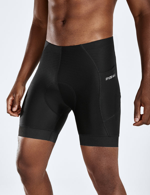 "Baleaf Mens 6"" 4D Padded Pockets MTB Liner Cycling Underwear black side"