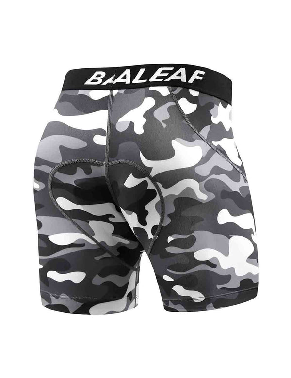 "Baleaf Mens 4.7"" 4D Padded MTB Liner Camo Bike Shorts Black back"